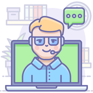 icon of employee behind a laptop offering support